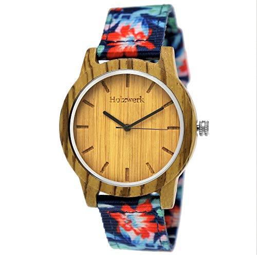 (Handgefertigte Holzwerk Germany® Unisex Damen-Uhr Herren-Uhr Sommer Hawaii Blumen Öko Natur-Holz Holz-Uhr Armband-Uhr Analog Holz-Armbanduhr Bunt Blau Rot Braun Textil-Armband Holz-Ziffernblatt)