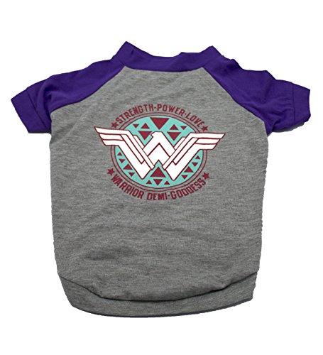 DC Comics ffp9089st Wonder Woman Logo Hund Tee, klein, grau (Wonder Pets Kleidung)