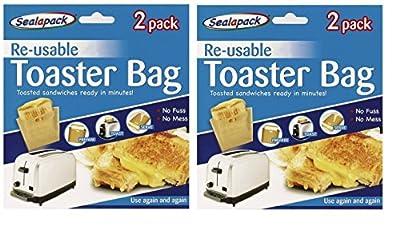 Sealapack 4 pack Reusable Toaster Toastie Sandwich Toast Bags Pockets Toasty Toastabags
