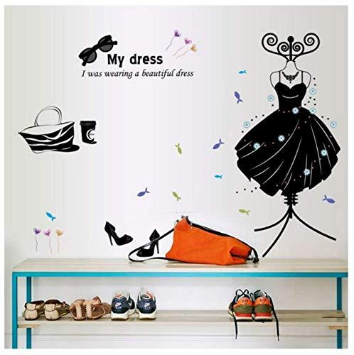 Luzhenyi Kleidung Schuhe Hüte Dekoration Schlafzimmer Wohnzimmer Schwarze Wandaufkleber Auf Der Wand Brille Aufhänger 110X83 Cm