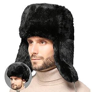 Winter Fallensteller100% Kaninchenhaar Kavallerist Unisex-Hut Ushanka Aviator Russian Hat Outdoorjagd Skifahren Hut Mütze mit Ohrenklappe