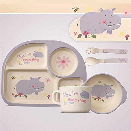 Per 5 stücke Cartoon Geschirr Set Platte + Gabel + Schüssel + Tasse + Löffel Bambusfaser Umweltfreundliche Fütterung Set Für Kinder Kleinkinder Jungen und Mädchen (Kleinkind-schüssel-satz)