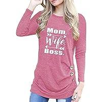 Preisvergleich für KingProst-Herbst Langarmshirt Damen Brief Gedruckt Oberteil Elegant Rundhals Shirt Pullover Blusen Langarm Jumper T-Shirt Tunika