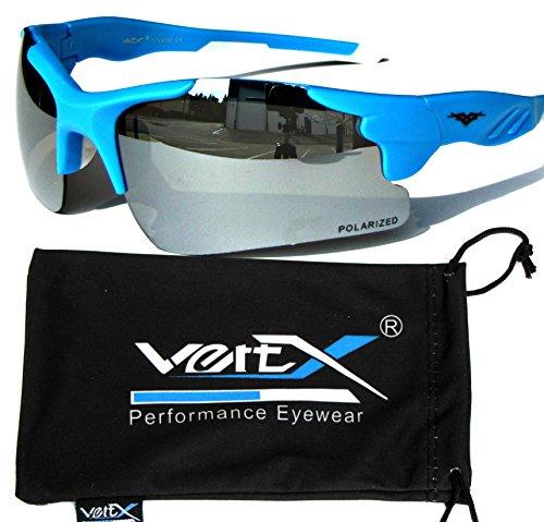 VertX polarisiert Neon Sonnenbrille Sport Wrap-Around-Radfahren laufen im freien – Neon Blauer Rahmen – Spiegel-Objektiv