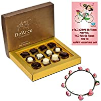 De'Arco Chocolatier Chocolates Valentine Day Gift for Girlfriend Boyfriend Husband Wife, Premium Luxury Chocolates, 12pcs + Free Tiara