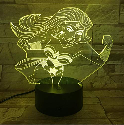 Wunder Frau Figur Usb 3D Led Nachtlicht Dekorative Lichter Jungen Kind Kinder Baby Geschenke Dc Justice League Schreibtischlampe Schlafzimmer (Justice League Babys)