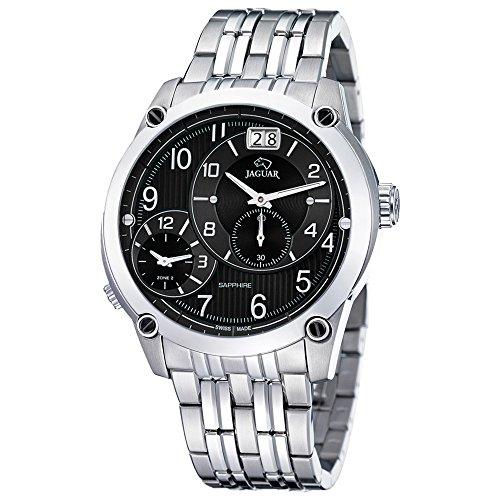 JAGUAR uomo e donna-Orologio da polso analog Fashion in acciaio inox-Bracciale in argento luenette-orologio quadrante nero UJ629/G