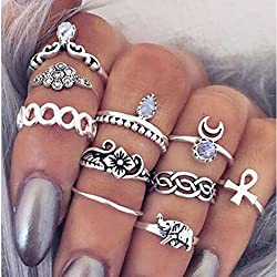 10pezzi Vintage Knuckle Ring Anillo Tribal Ethnic Hippie Joint Punk Ring Anillo Juego para mujer