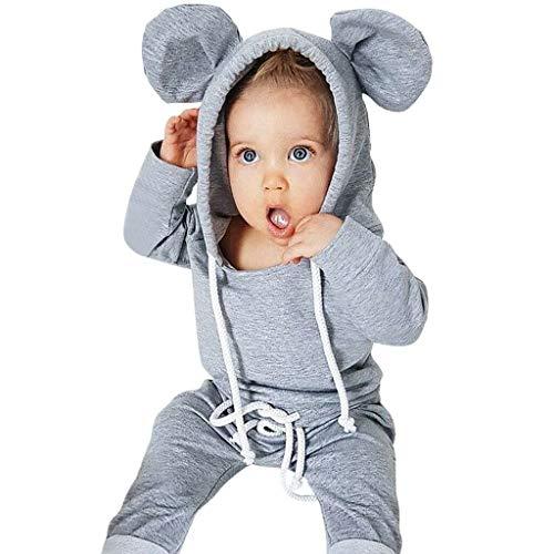 jerferr Säugling Strampler Jungen-Mädchen-Karikatur-Ohr kleidet mit Kapuze Oberseiten-Hosen-Ausstattungs-Sätze