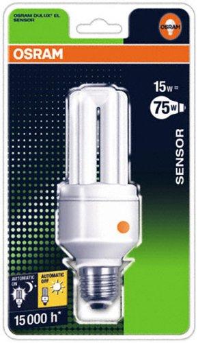 Osram 61739B1 Dulux El Sensor Sockel E27 Energiesparlampe mit Dämmerungsschalter 15W/827, warmweiß