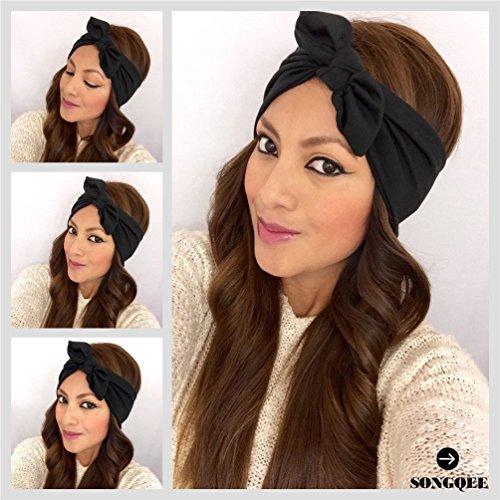 songqee (TM) Noir–Bandeau Nœud en tête wrap bandeau cheveux serre-tête Femme Fashion