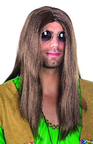 (Boland 86369 - Perücke Hippie John, lange, glatte Haare, braun)