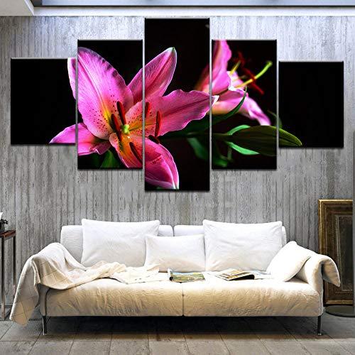 jjshily 5 Panel HD Gedruckt Rosa Feuer Lilie Blumen Wand Poster Druck Auf Leinwand Kunst Malerei Für zuhause Wohnzimmer Dekoration Kein Rahmen -
