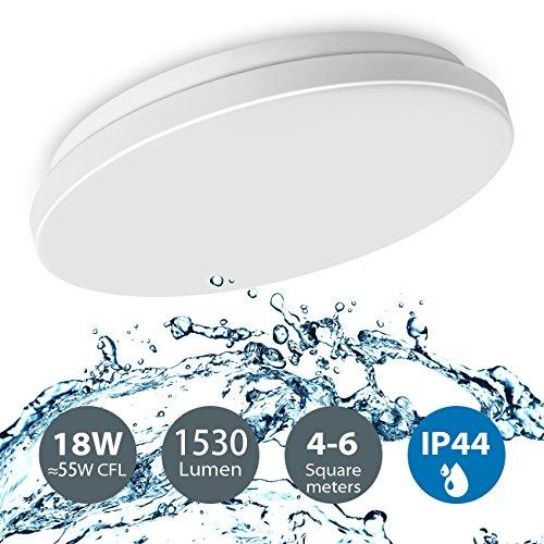 LVWIT 18W moderne LED Deckenlampe Aufbau 4000K Neutralweiß, rund ø28 cm, wasserdicht IP44 Deckenleuchte für Bad Wohnzimmer Schlafzimmer Küche Treppen Flur Korridor