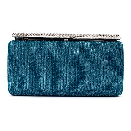 Damara Pochette Femme de Soirée Synthétique Dur Rayure Glitter Boucle Métallique de Strass bleu clair
