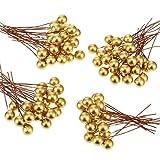 Artificiale Bacche di Agrifoglio, 100 Pezzi Mini 10 mm Falso Decorazione delle Bacche su Filo per Albero di Natale Decorazione Fiore Corona Fai Da Te Mestiere Uso