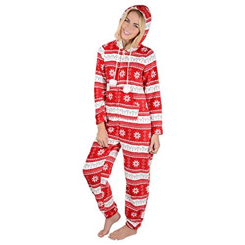 Damen Fleece Einteiler Pyjama mit Schneeflocken Muster – Roter Onesie - 2