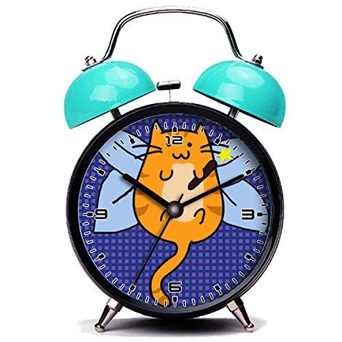 girlsight Blauer Wecker, Nette Katze Süße Halloween Katze Fee Kostüm Twin Bell Wecker mit Nachtlicht (Süßes Fee Kostüm)