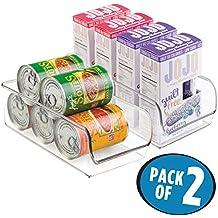 mDesign cesta organizadora apilable ideal para almacenar sus cosas para el hogar - Caja multiusos en color transparente - Juego de 2 cajas para latas o alimentos