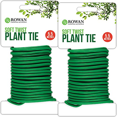 2x Rolls of 5.5m Soft Plant Support Tie Reusable Weatherproof Long Thick Garden Twist Wire | Reduces Damage To Plants & Stems