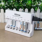 Caricabatterie a 8 Slot con Indicatore LED, IEGrow Caricabatteria per AA AAA Ni-MH Batteria(8 Slot)