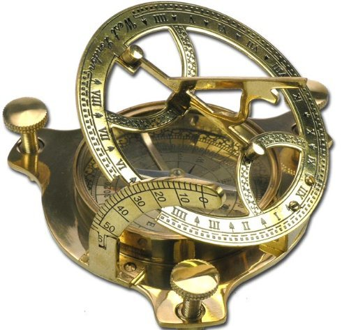 Nautic Kompass Sonnenuhr MESSING 6,5cm + Holzetui Modell ELECSA 9060