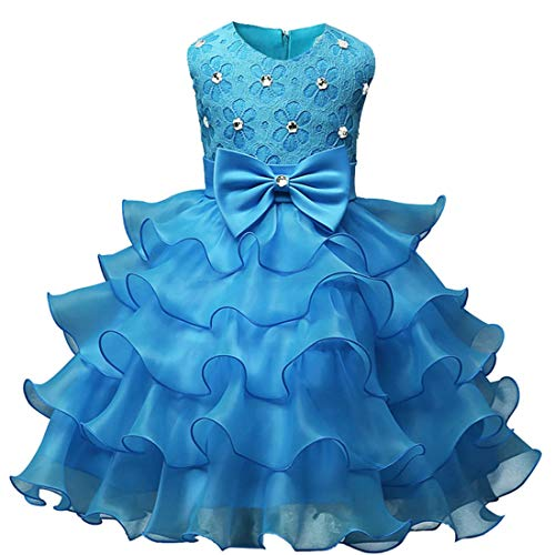 AIKSSOO Kid Infant Girl Bowknot Perlen Prinzessin Kleid Tiered Sleeveless Party Tutu (Color : Light Blue, Size : 130) Tiered Kleid