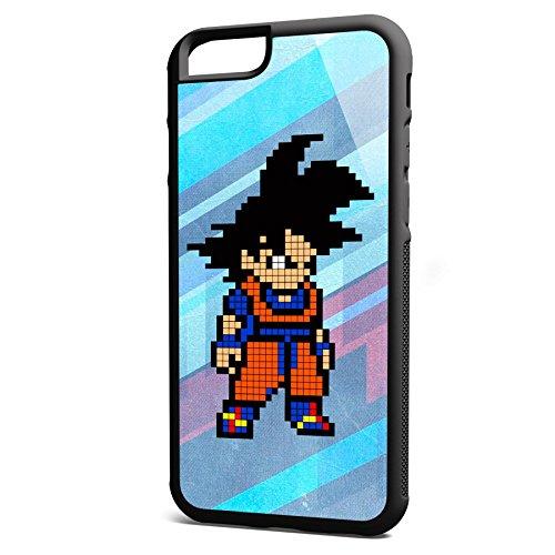 Smartcover Case Pixel Goku z.B. für Iphone 5 / 5S, Iphone 6 / 6S, Samsung S6 und S6 EDGE mit griffigem Gummirand und coolem Print, Smartphone Hülle:Iphone 5 / 5S schwarz Iphone 6 / 6S schwarz