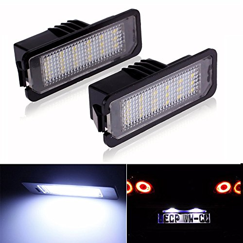 LITTOU 2X LED Kennzeichenbeleuchtung 18 SMD led CANBUS Error Free für Golf 4 5 6 7, Polo