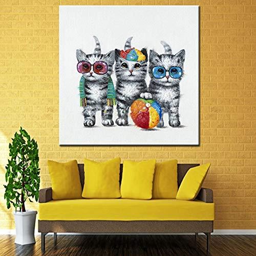 Ölgemälde Auf Leinwand Handgemalt,Zusammenfassung Lustige Tier Gemälde,Cartoon Katzen Mit Sonnenbrille Und Ball ,Moderne Handgefertigte Kunst An Der Wand Dekoration Für Wohnzimmer Küche Erwachsen