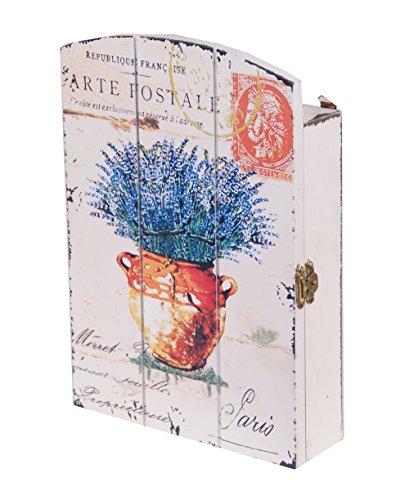 Shabby Chic Box Schlüssel, die Lagerung Haken Wand montiert Lavendel Key Box Halter Holz Shabby Chic Provence stylelavender in braun Korb (Möbel Lagerung Körbe)