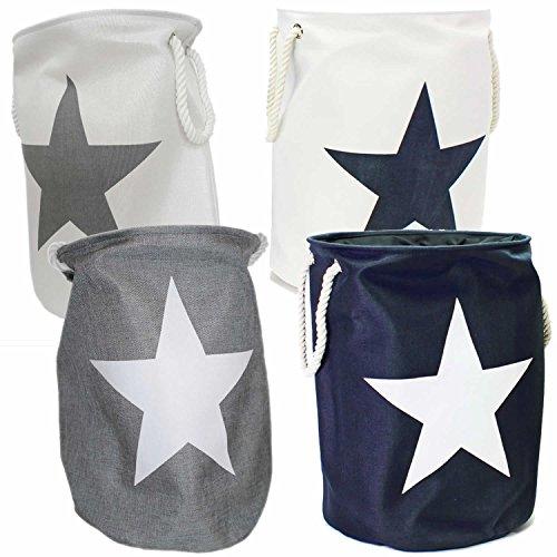 LS Design Wäschesammler Wäschetruhe Wäschesack Wäschekorb Star Sterne Weiss Blau