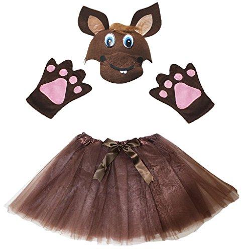 Petitebelle Pferd Hat Handschuhe Rock Girl Kinder 3pc Kostüm Zubehör Einheitsgröße Braun (Halloween-kostüm Pferd Kind)