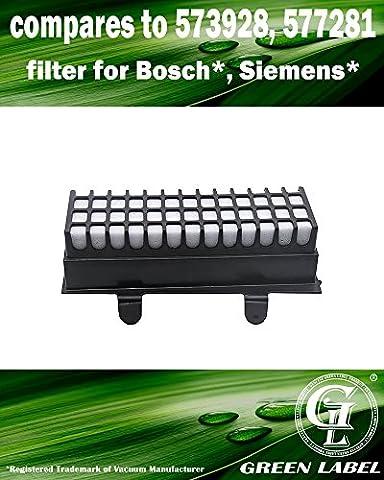 Filtre hygiénique haute performance pour les aspirateurs Bosch et Siemens Relaxx'x Pro Silence (alternative à 00577281, 00573928). Produit Green Label authentique