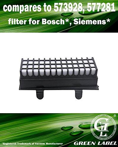 HEPA Filter für Bosch Relaxx'x Pro Silence und Siemens Staubsauger. (Vergleichbar mit 00577281). Original Green Label Produkt.