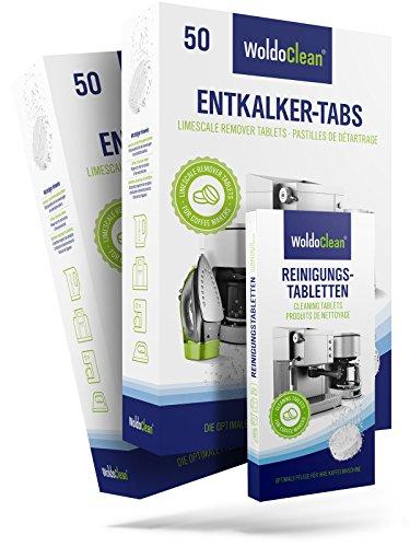 WoldoClean I Reinigungset I 100x Entkalkertabs I 10x Reinigungstabletten I Für Kaffeevollautomaten...