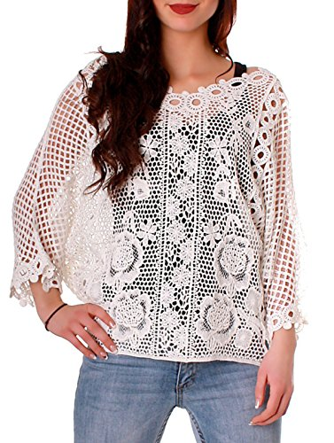 Fragolamoda Damen Vintage Häkelshirt Netzshirt Häkelpulli Bluse transparent  Weiß