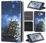 CoverFix Premium Hülle für Samsung Galaxy Xcover 4 Flip Cover Schutzhülle Kunstleder Flip Case Motiv (376 Piraten Schiff Meer Sturm Blau Braun)