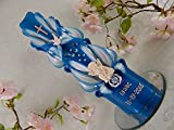 Geschnitzte Taufkerze Kommunionkerze blau für Jungen mit Schutzengel Name Datum 26 cm