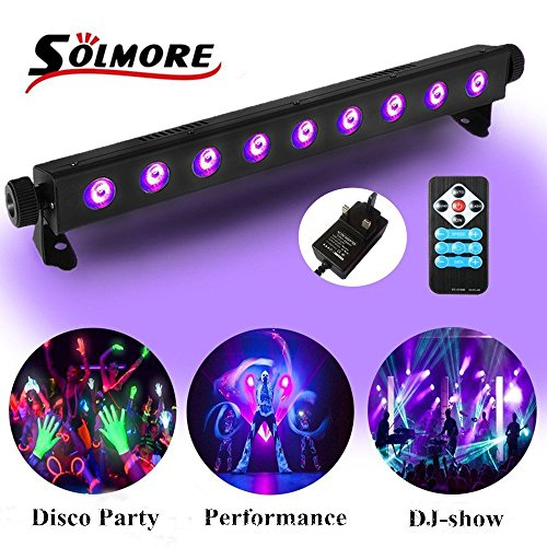 UV Black Lights, Disco Party Lights SOLMORE 3W x 9LEDs Strobe Strip Lights Stage Blacklight Wall Washer Light Fluorescent DJ Club Bar Playroom Show Concert Celebration [with remote control]