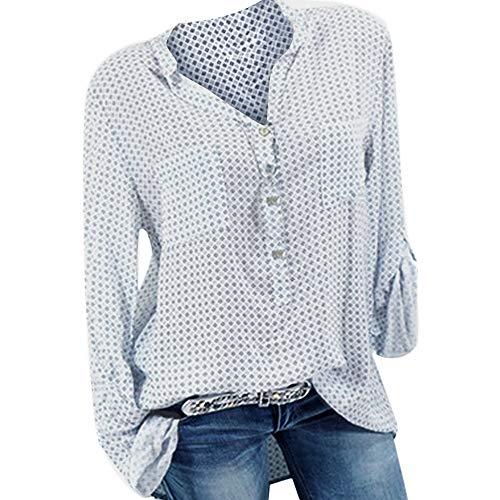 TianWlio Langarm Bluse Damen Frauen Mode Lässige Mode V-Ausschnitt Plus Size Print Langarm Knopf Taschen Shirt Top Bluse -