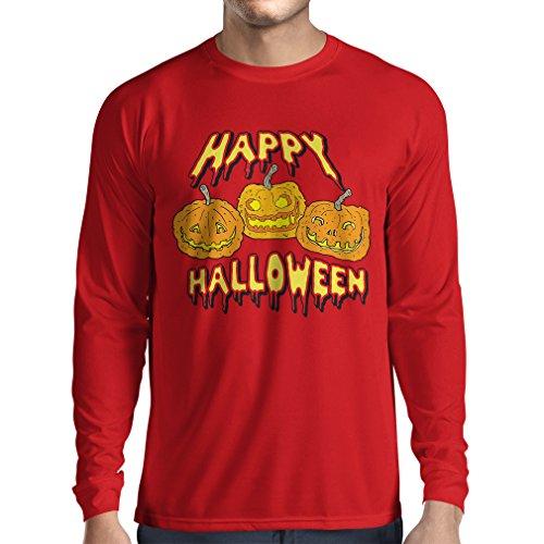 Langarm Herren t Shirts Happy Halloween! Party Outfits & Costume - Gift Idea (Medium Rot Mehrfarben) (Ideen Halloween-kostüm Halo)