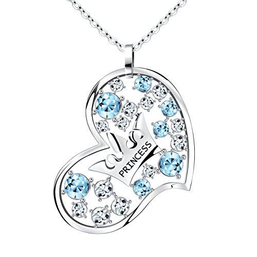 Atmoko collana donna, a forma di cuore e principessa corona pendente, regalo perfetto per fidanzata, figlia, madre, moglie, san valentino, festa della mamma, blu