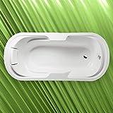 Ovalwanne LINDA 190x88x43cm Acryl in weiß, mit Kissen, Styroporträger und Ablaufgarnitur/Sifon