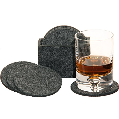 MC-Trend 9tlg. Set Filz Untersetzer Glas Untersetzer aus Filz für Gläser, Tassen für Ihren Tisch Bar 8er Set in Filzbox (Dunkelgrau)
