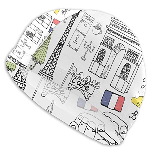 GUUi Swimming Cap Elastic Swimming Hat Diving Caps,Paris Culture In Doodle Style Drawing Eiffel Tower Beret Croissant Blue Cheese Taxi,for Men Women Youths (Tower Eiffel Drawing-easy)