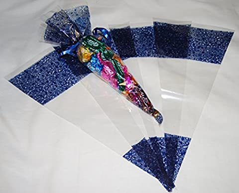 Pack of 100 - Dark Blue Pattern Clear Party Bags