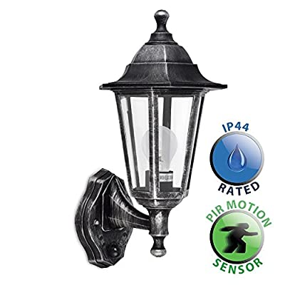 Traditional Victorian Style Outdoor Garden Security IP44 Rated Wall Light Lantern - Featuring An Integrated PIR Motion Detector Sensor - inexpensive UK light store.