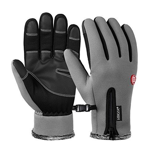 Vbiger Wasserdicht Winterhandschuhe Wasserdicht Fahrradhandschuhe Sporthandschuhe Warme Handschuhe Winter Handschuhe Outdoor Handschuhe mit dickem Fleecefutter