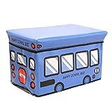 Moorui Pouf Poggiapiedi Sgabello per Bambini Contenitore Pieghevole Scatole Porta Giocattoli Ceste Contenitori per Abiti Blu 49*31*31 cm